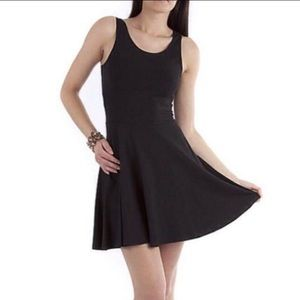 Topshop Black Sleeveless Mini Skater Dress
